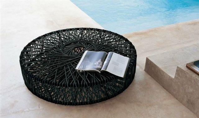 Kleiner Runder Beistelltisch Outdoor Bereich Modernes Möbel