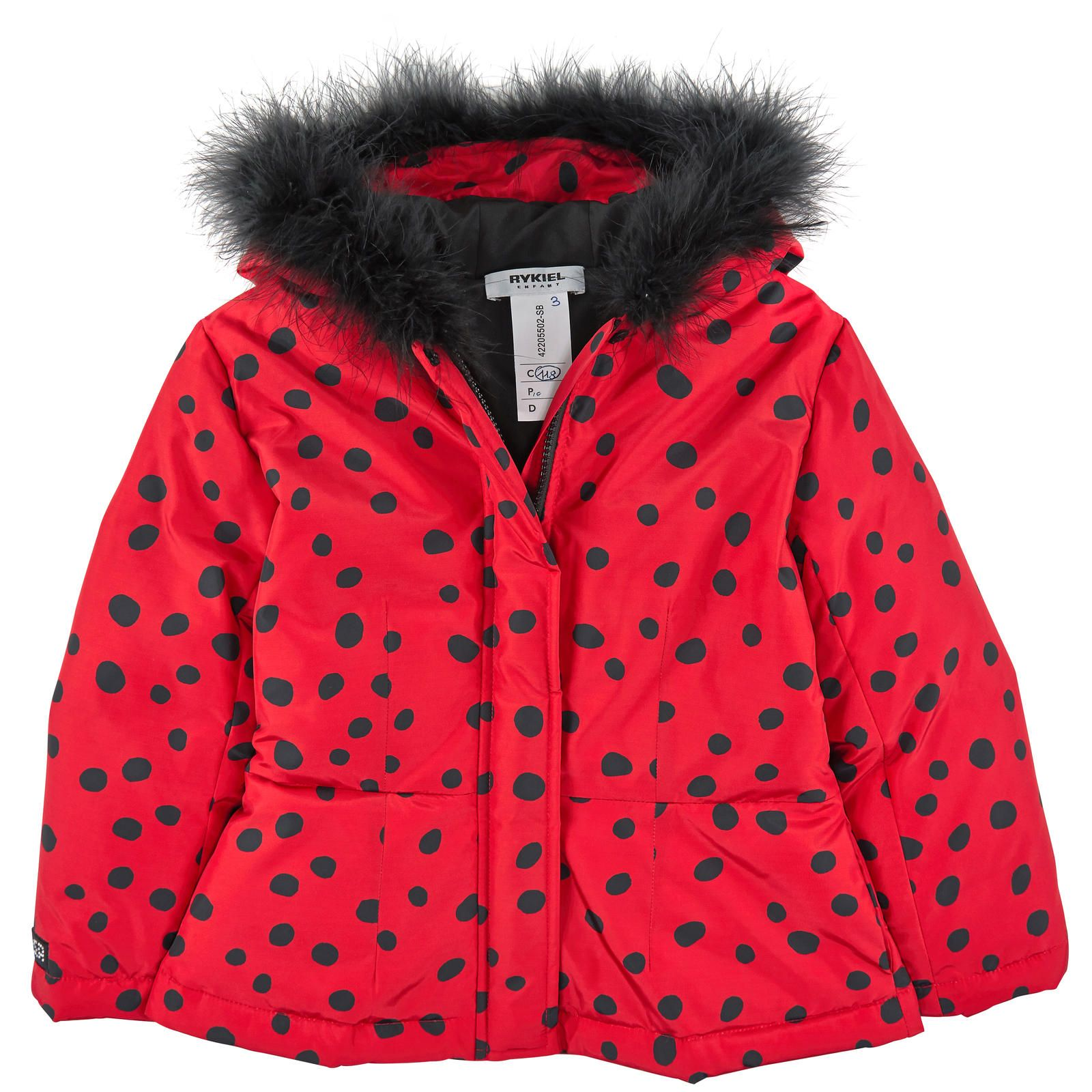 Spotted waterproof coat with a synthetic lining. Polyester padding. Hood with a false fur trim. Zipper and snap buttons on the front. Slit pockets on the sides. Machine washable at 30°C. - 275,00 €
