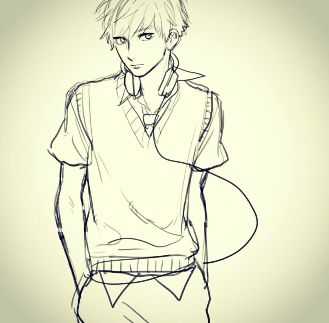Human Standing Pose Anime Drawings Sketches Male Art Reference Art Poses