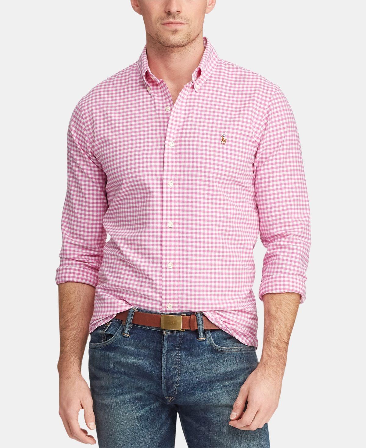 Mens Long Sleeve Gingham Poplin Classic Fit Cotton Stretch Oxford Shirt