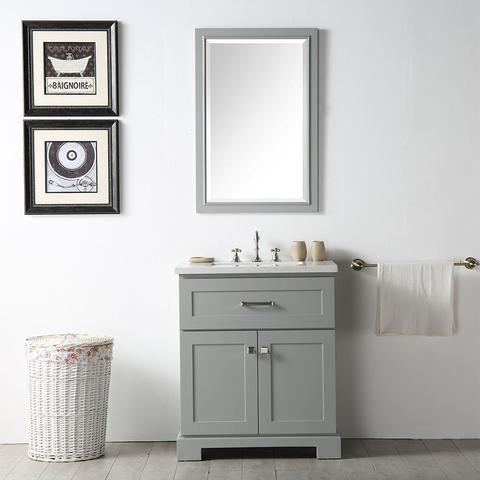 "Legion Furniture 30"" Cool Gray Wood Single Sink Vanity Set Quartz"