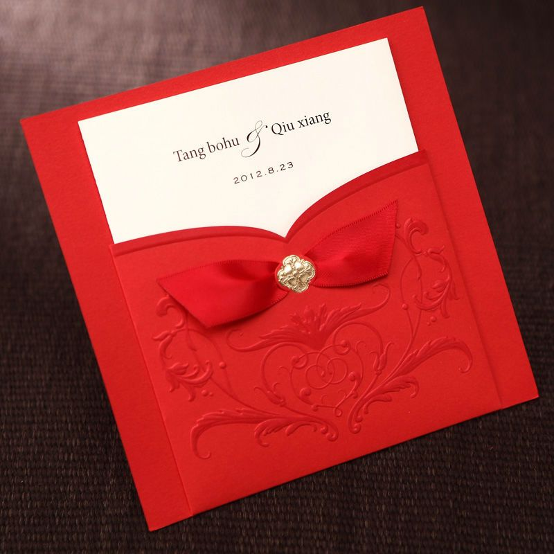 Elegant Embossed Totem Wrap & Pocket Wedding Invitations Cards in ...