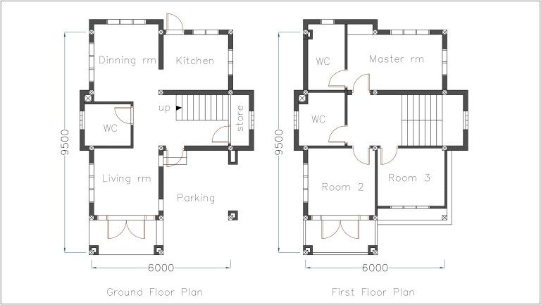 Home Plan 6x9 5m With 3 Bedrooms Sam House Plans House Plans Floor Plans Balcony Grill