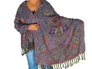 "Boho Beaded Wool Shawl Scarf - Kashmir Woven Paisley Ladies Wrap 80"""