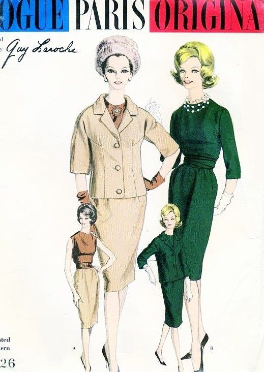 CLASSY 1960 Slim Suit and Blouse Pattern Guy Laroche VOGUE PARIS ORIGINAL 1026  Daytime or Evening Elegance  Bust 34 Vintage Sewing Pattern