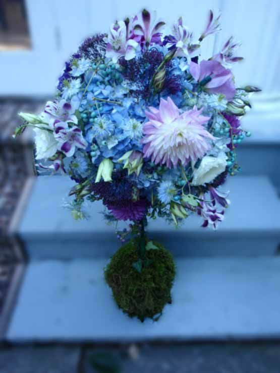 Topiary Beautiful Flowers French Blue And Satin Bows Decorated The Wedding Wheelchair