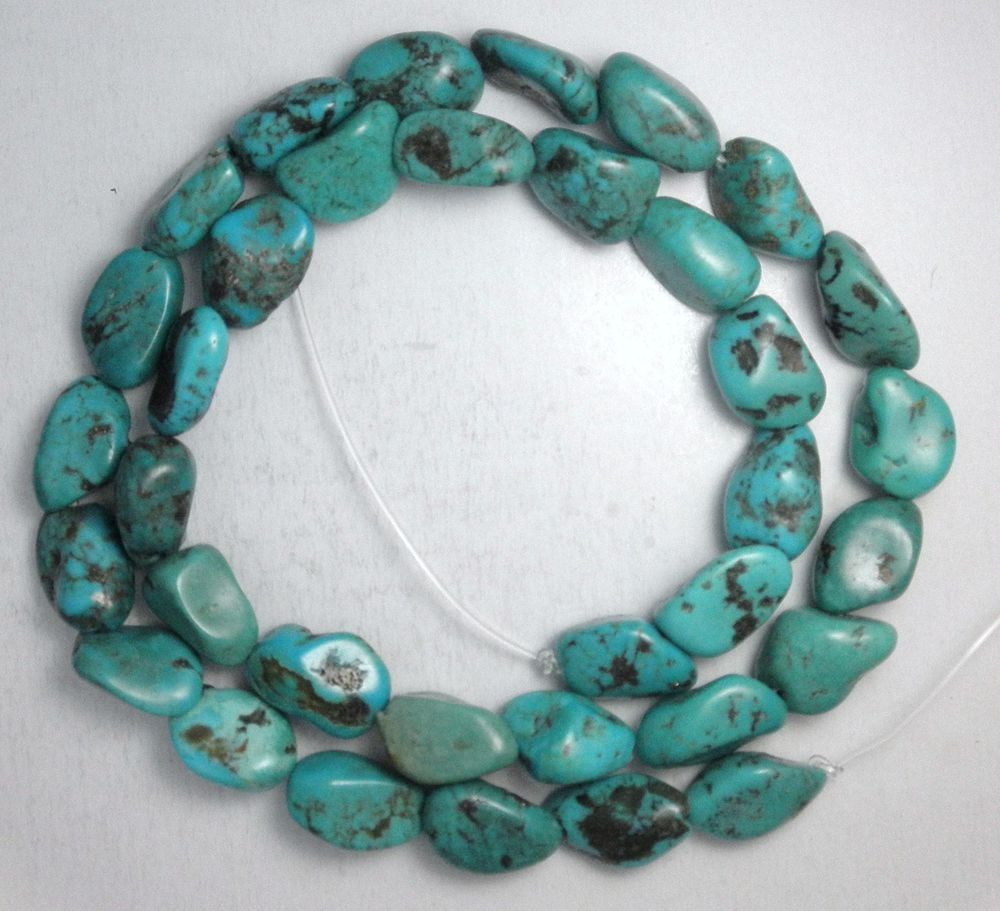 """Turquoise Loose Nugget Beads Natural Colors 16"""" Craft Jewelry Stabilized  #825 #Erthart #Southwest"""