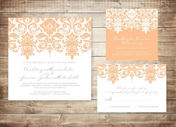 Orange Coloured Wedding Invitations