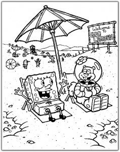 spongebob at the beach summer coloring pages