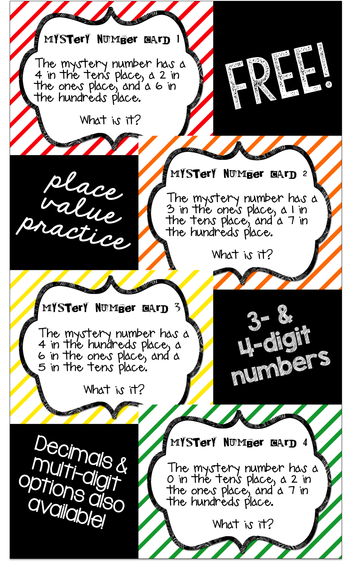 worksheet Mystery Number free packet containing 36 place value mystery number task cards cards