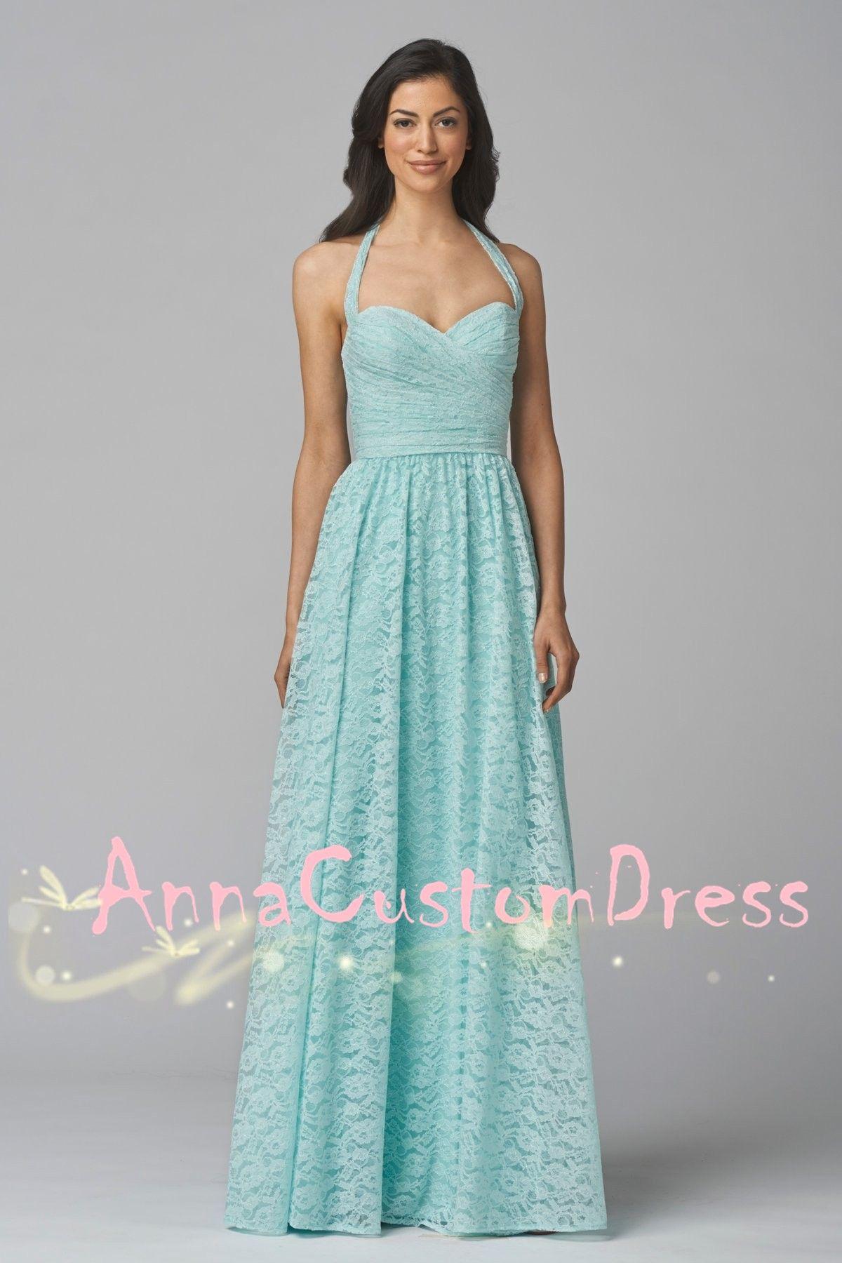 Halter light sky blue lace long bridesmaid dress popular