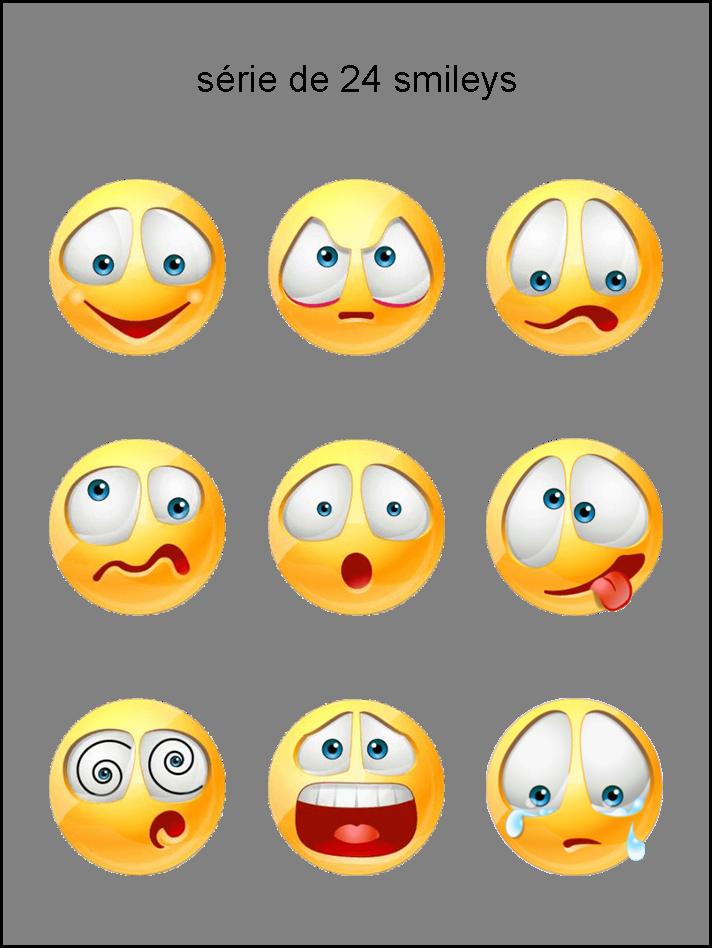 foto de émoticônes smileys cliparts visage jaune vert rouge bleu rose violet orange gris