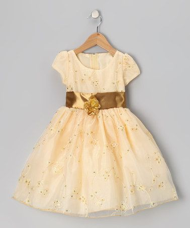 Take a look at this Gold Flower Organza Dress - Infant, Toddler & Girls by Kid Fashion on #zulily today!