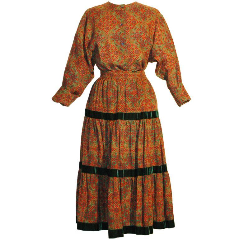 aa85e117ed9 Vintage Yves Saint Laurent YSL Rive Gauche Russian Style 2pc Wool Pheasant  Velvet Trim Skirt Set | 1stdibs.com