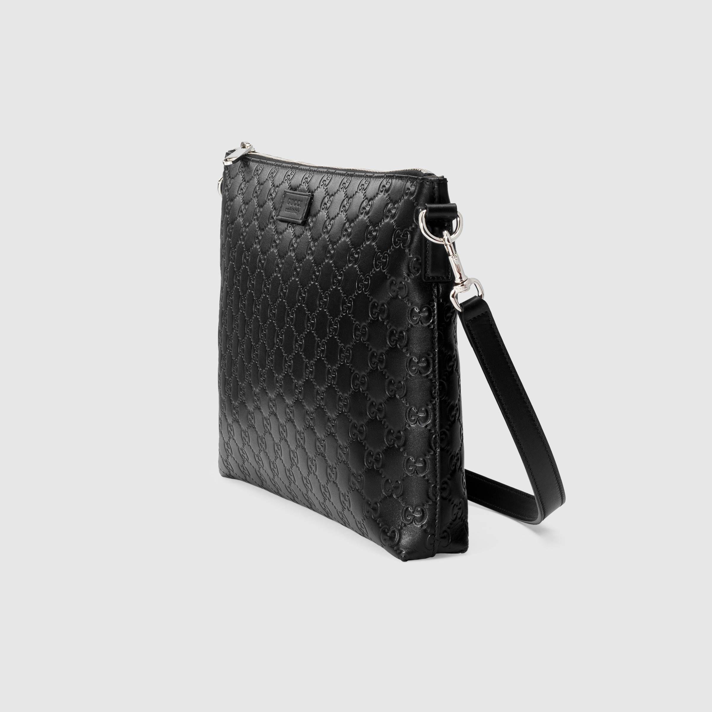 89872e6c92a6 Gucci Signature soft messenger in Black Gucci Signature soft leather with black  leather trims | Gucci Men's Messenger Bags