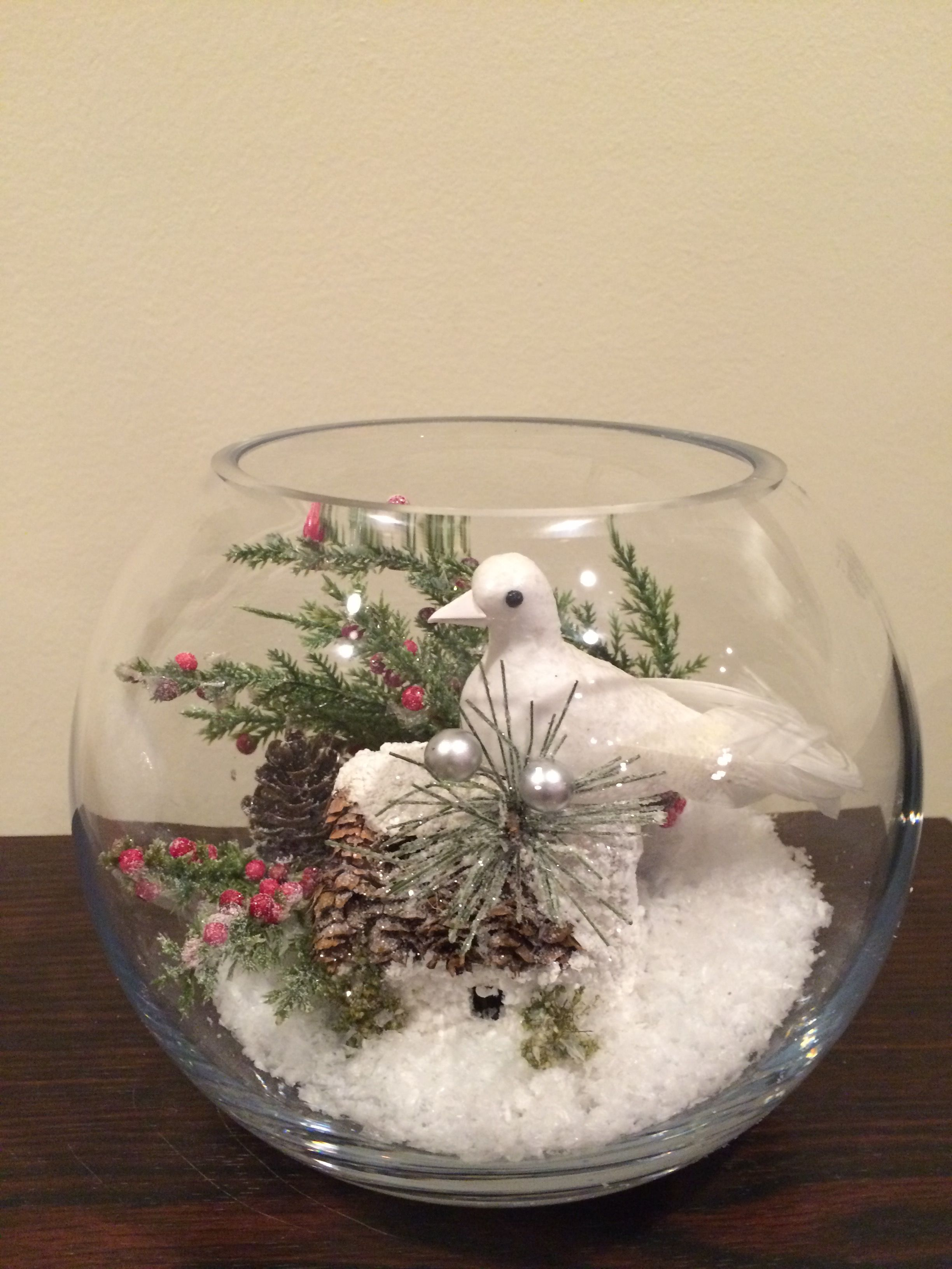 Bubble Bowl Made With Winter Scene Of Snow Berries House And White Bird Christmas Table Decorations Christmas Centerpieces Christmas Decor Diy