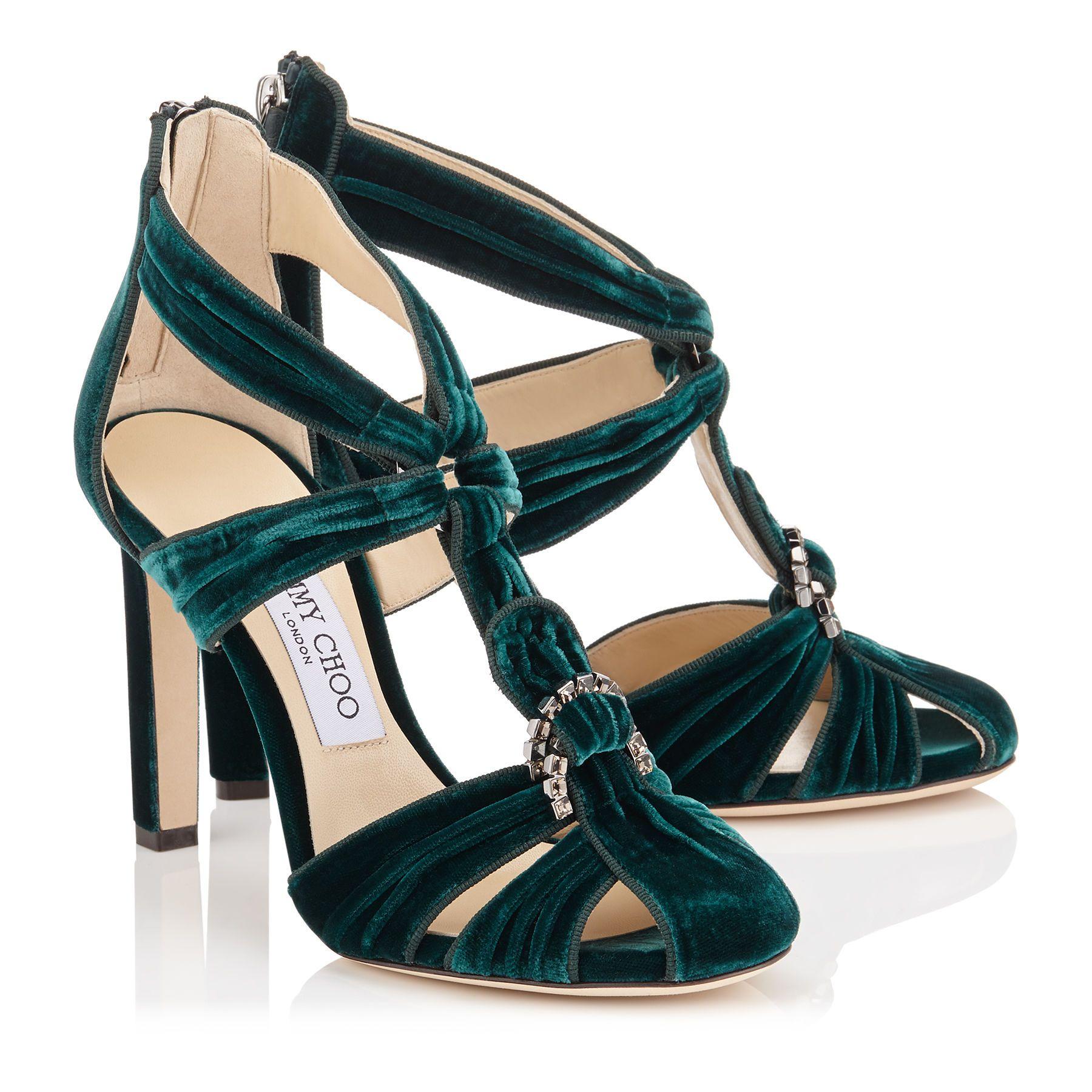 602d0941aa5a Bottle Green Velvet Round Toe Sandals with Swarovski Crystal Brooch ...