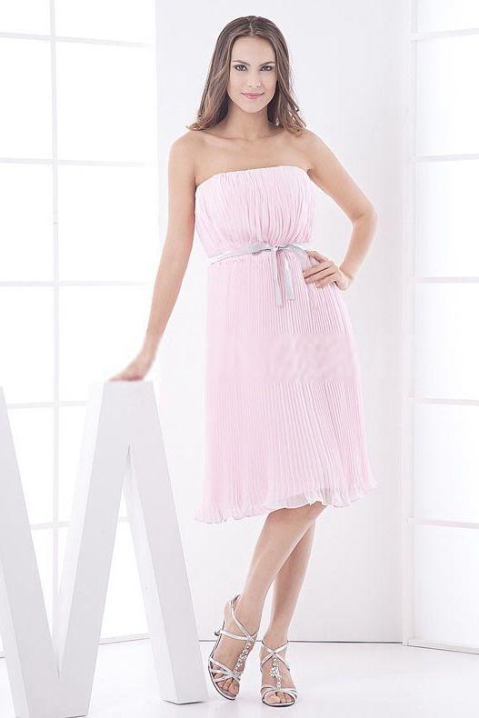 Strapless Luxury Pink Bridesmaids Dress - Order Link: http://www.theweddingdresses.com/strapless-luxury-pink-bridesmaids-dress-twdn5285.html - Embellishments: Beading; Length: Knee Length; Fabric: Satin; Waist: Natural - Price: 113.1319USD