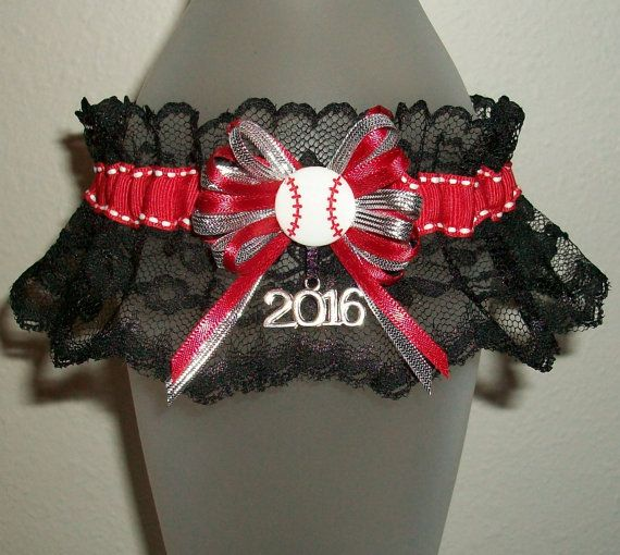 Funny Wedding Garters: Baseball Softball Garter Red Silver And Black Lace 2016