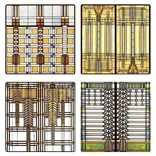Coasterstone As2745 Absorbent Coasters Frank Lloyd Wright Art Gl Design Set Of 4