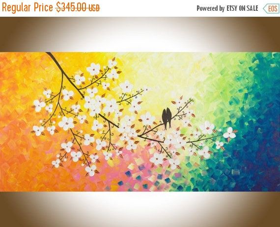 Turquoise white blue large wall art abstract painting colourful ...