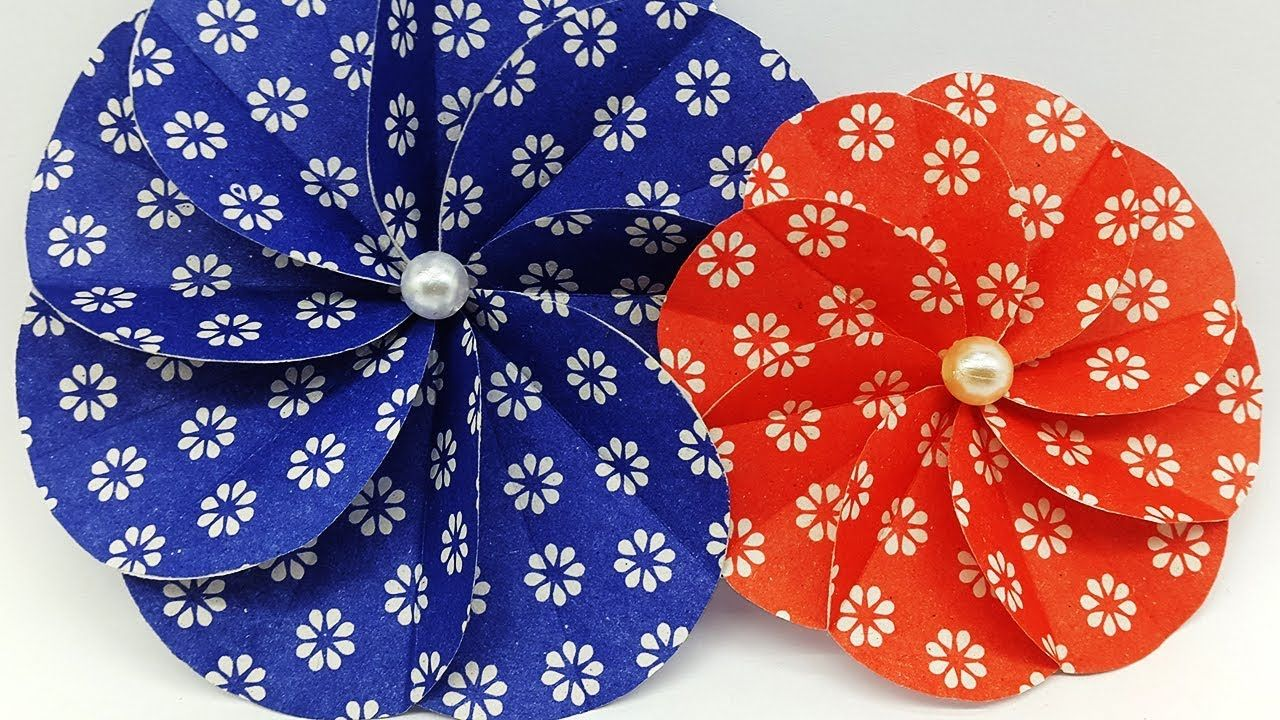 Diy Paper Flowers Making With Colors Paper Scrapbook Spiral Flower