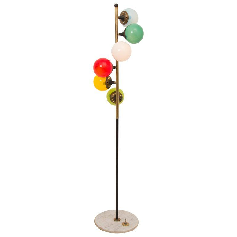 1950s Rare Stilnovo Six Colored Globe Brass Floor Lamp Brass Floor Lamp Lamp Floor Lamp