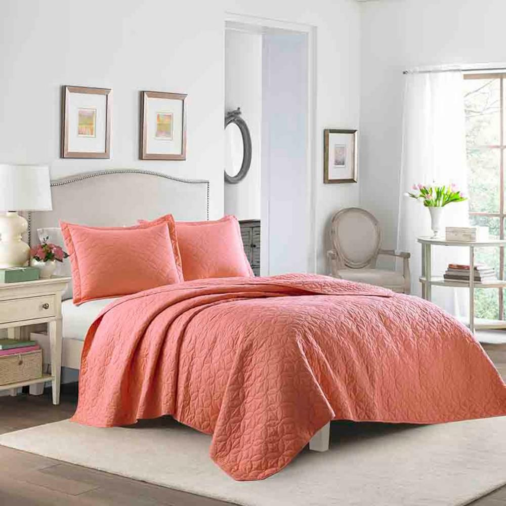 Laura Ashley Laura 3 Piece Coral King Quilt Set Pink King Quilt