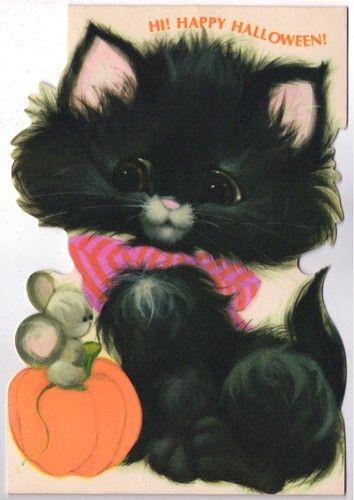 Vintage Halloween Black Cat CATMANIA ILLUSTRATIONS Pinterest