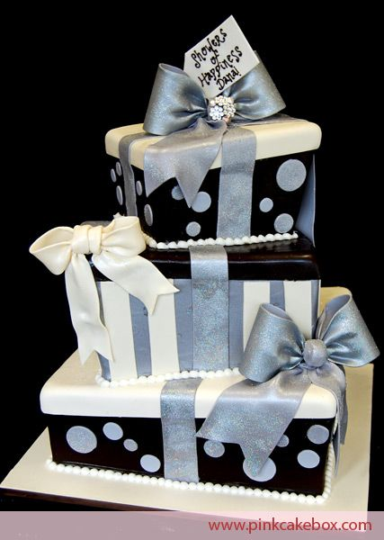 Topsy turvy gift box cake bridal shower cakes cake boxed cake it may be hard to see in this photograph but weve created a topsy turvy version of our popular gift box cake this color scheme for this cake includes si negle Images