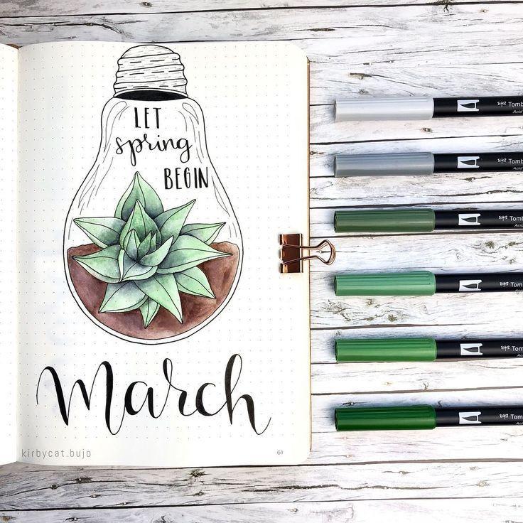 Bullet Journal März Titelseite Inspiration #bujoidées