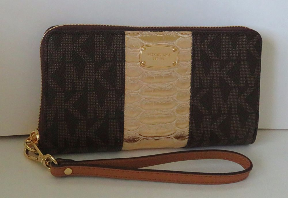 8f75b48c4bf1 Michael Kors Jet Set Large Coin MF Center Stripe Phone Case Brown Pale Gold  NWT