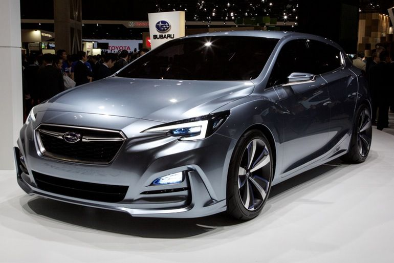 The 2016 Subaru Impreza 5 Door Concept on display in Tokyo