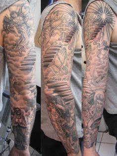 Angel Sleeve Tattoos Stairs Angel Sleeve01 Sleeve Tattoos Half Sleeve Tattoo Half Sleeve Tattoos Designs