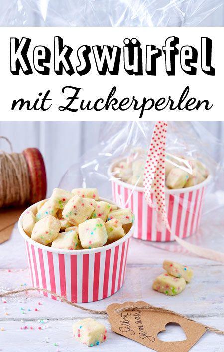 Bunte Kekswürfel mit Zuckerperlen #donutcake