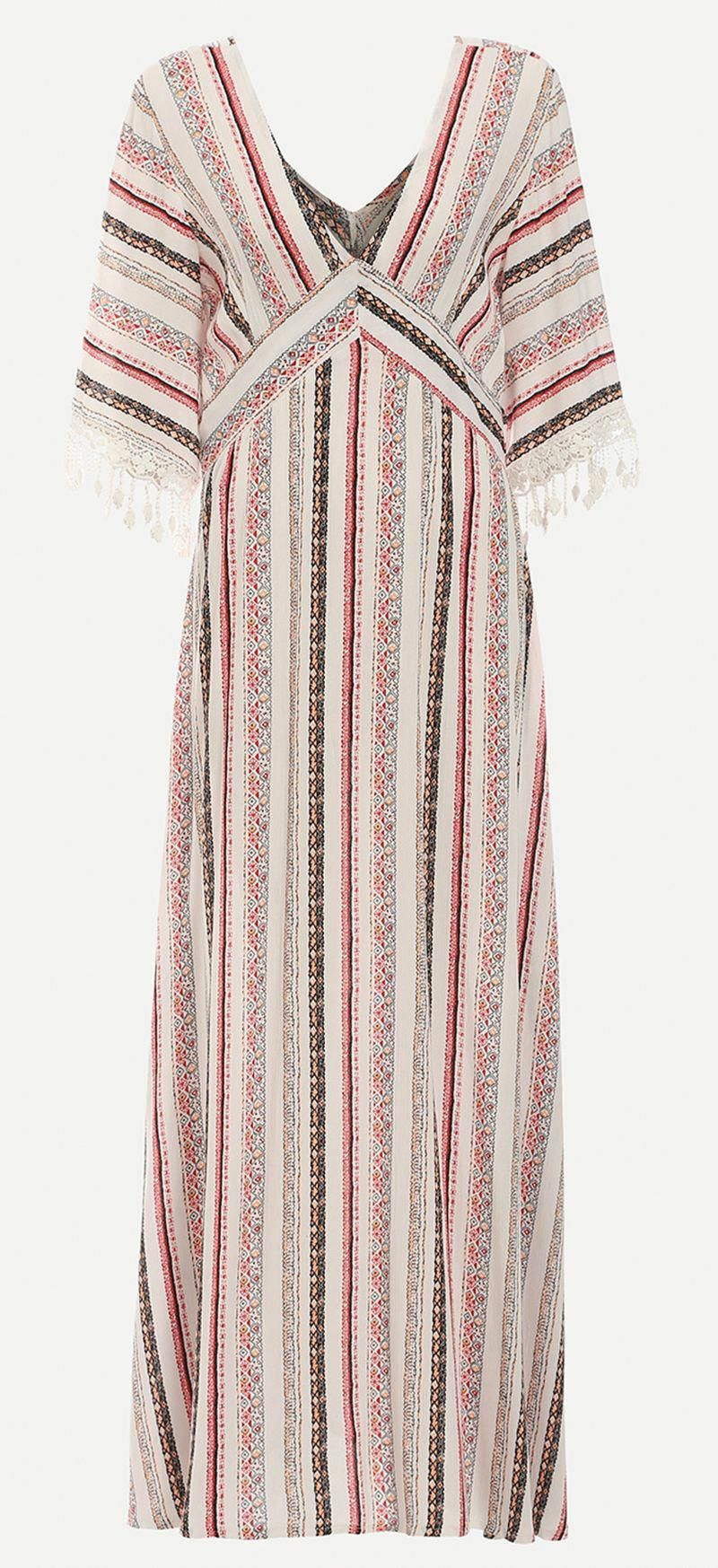 5e076701f46 Multicolor Striped Maxi Dress. Gorgeous beach dress with half sleeve and  v-neck. The design inspired from kimono. Vintage   pretty!   maxidressesgorgeous