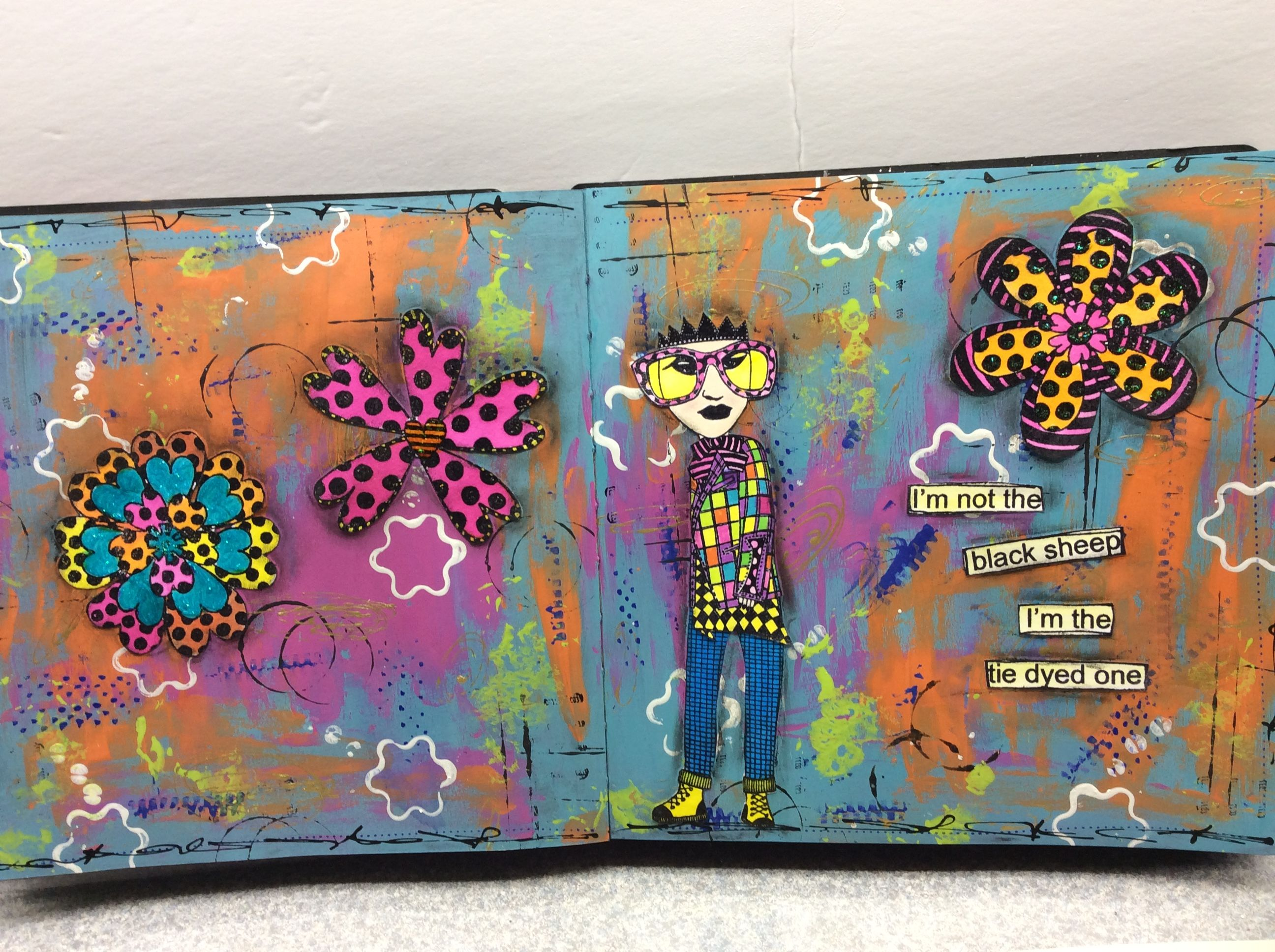 Playing with dylusions and paint in my black dylusions journal