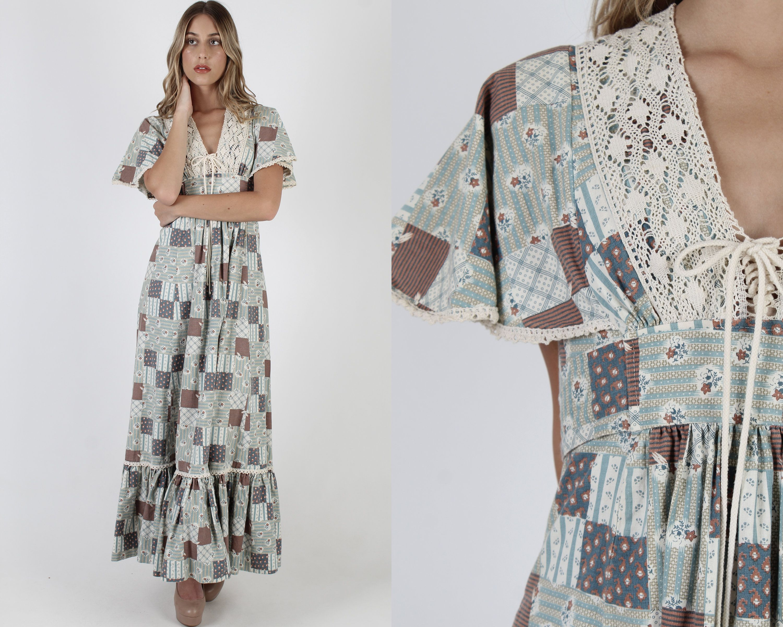 Vintage 70s Patchwork Country Maxi Dress Prairie Floral Etsy Country Maxi Dress Maxi Dress Floral Cotton Dress [ 2400 x 3000 Pixel ]