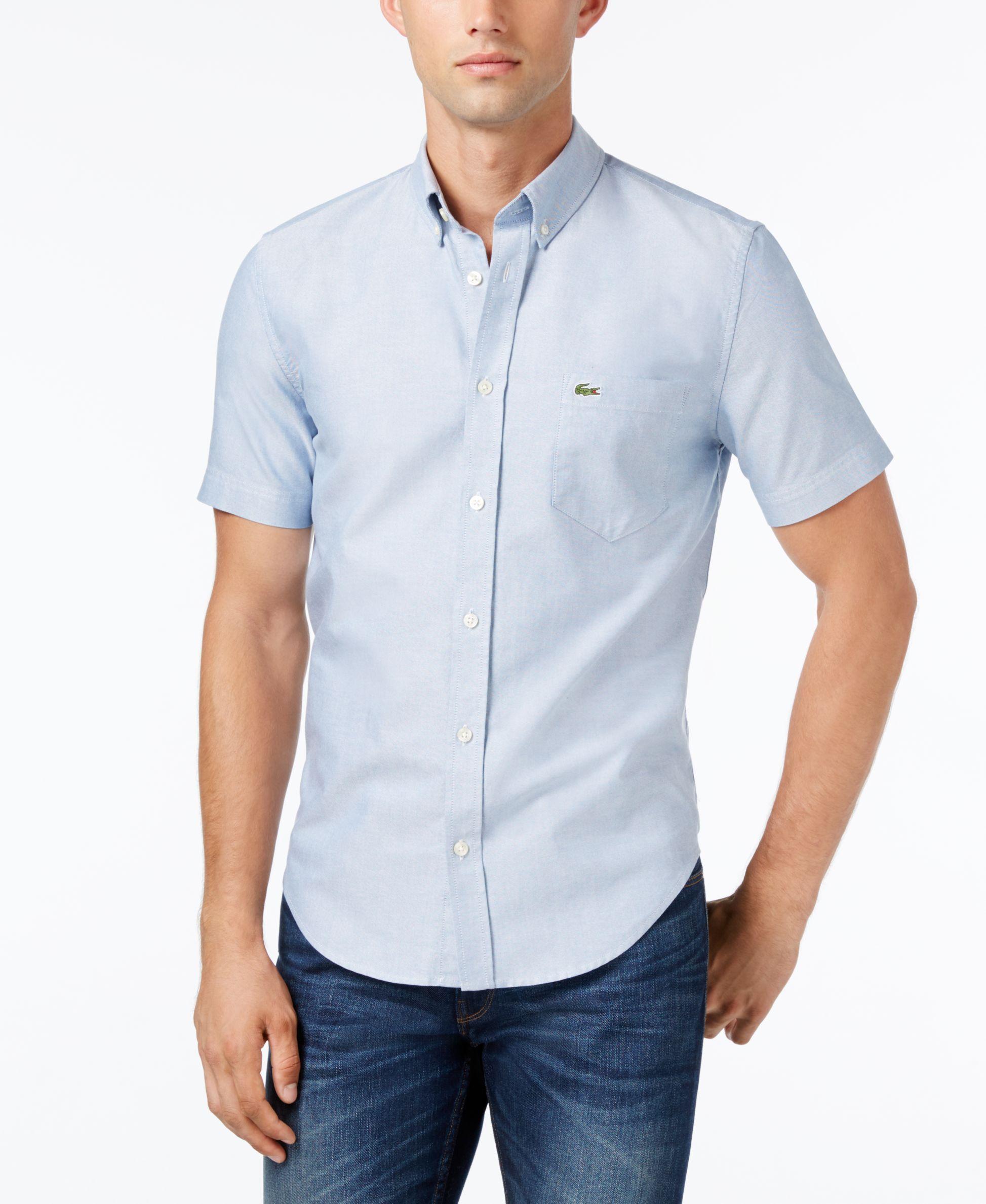 3b963240b Lacoste Men s Woven Short-Sleeve Button-Down Shirt
