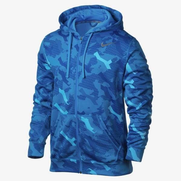 MEN S SIZE LARGE NIKE THERMA-FIT KO HOODIE JACKET CAMO BLUE  Nike  Hoodie 5a4958983