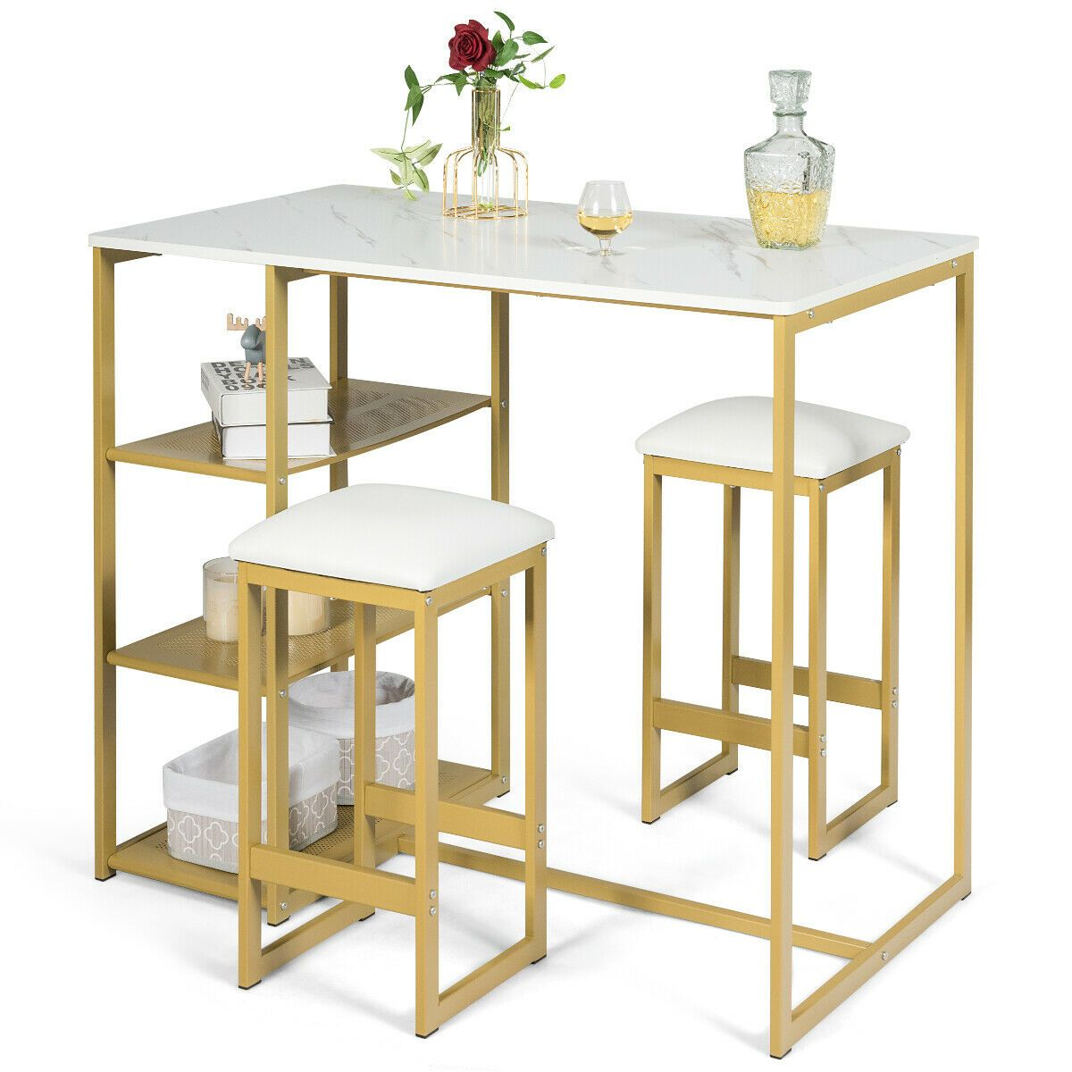 Home In 2020 Pub Dining Set Metal Dining Table Metal Shelves