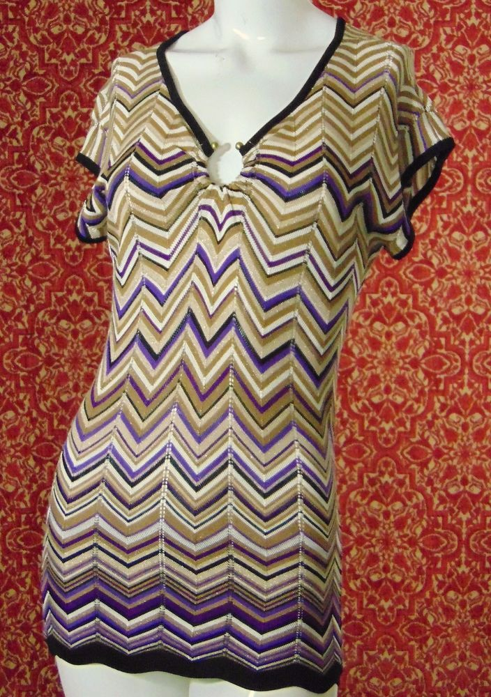 CACH'E beige zigzag rayon blend cap sleeve knit blouse XS (T45-02I6G) #CACHE #Blouse #Casual