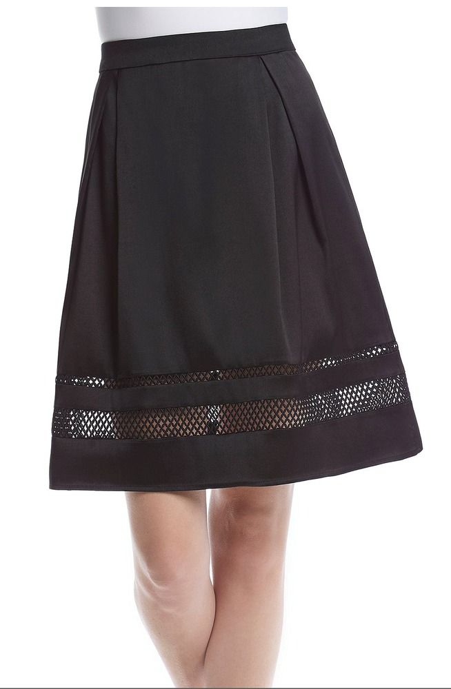 A-Line Skirt IVANKA TRUMP Mesh Inset Pleated Lined Women's Size 14 ...