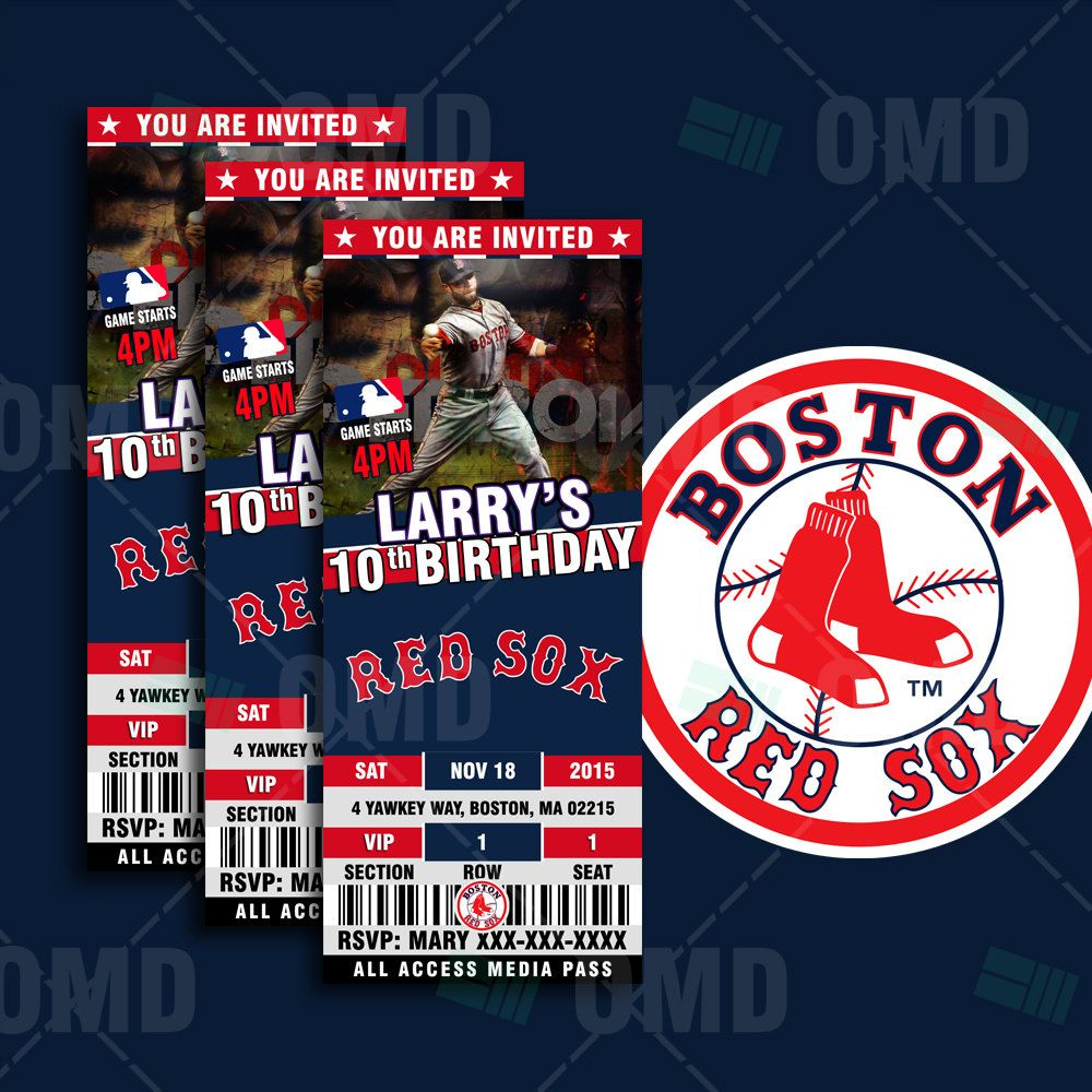 2 5x6 Boston Red Sox Sports Party Invitations Sports Party Invitations Baseball Theme Birthday Red Sox Party