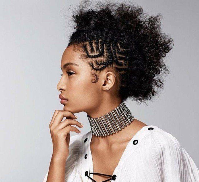 tresse africaine sur le coté, idée coiffure impressionnante