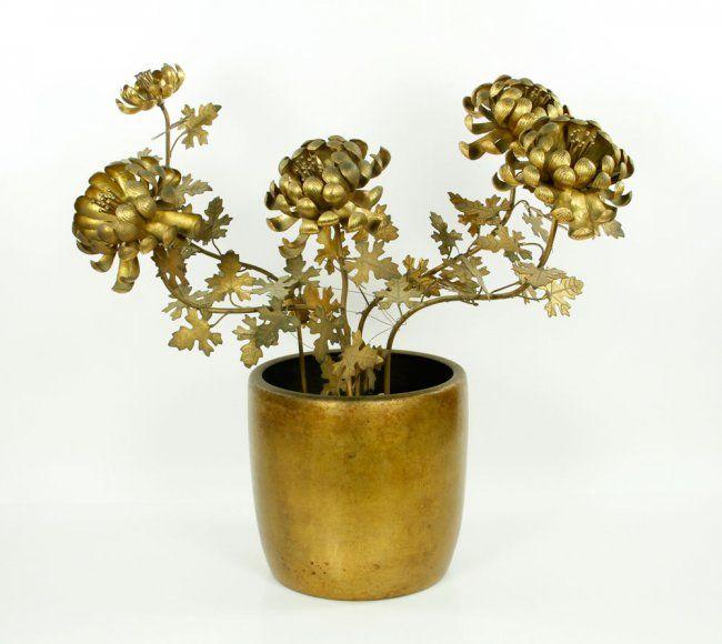 Japanese Gilt Bronze Flowers in Vase : Lot 9063