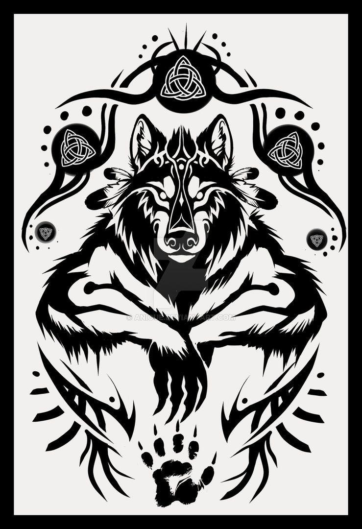 Shamanic Werewolf Tattoo Design by Anioue on DeviantArt