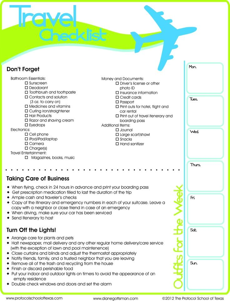 Travel Checklist Printable Printing, Cruises and Wanderlust - packing checklist template