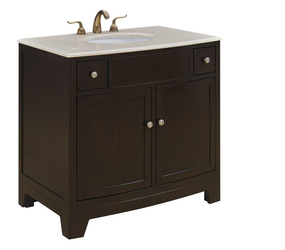 Elegant Lighting Vf 1036 Clarion 36 Inch Wide Free Standing Vanity Set With Wood Dark Brown Fix Bathroom Vanity Makeover Single Bathroom Vanity Bathroom Vanity