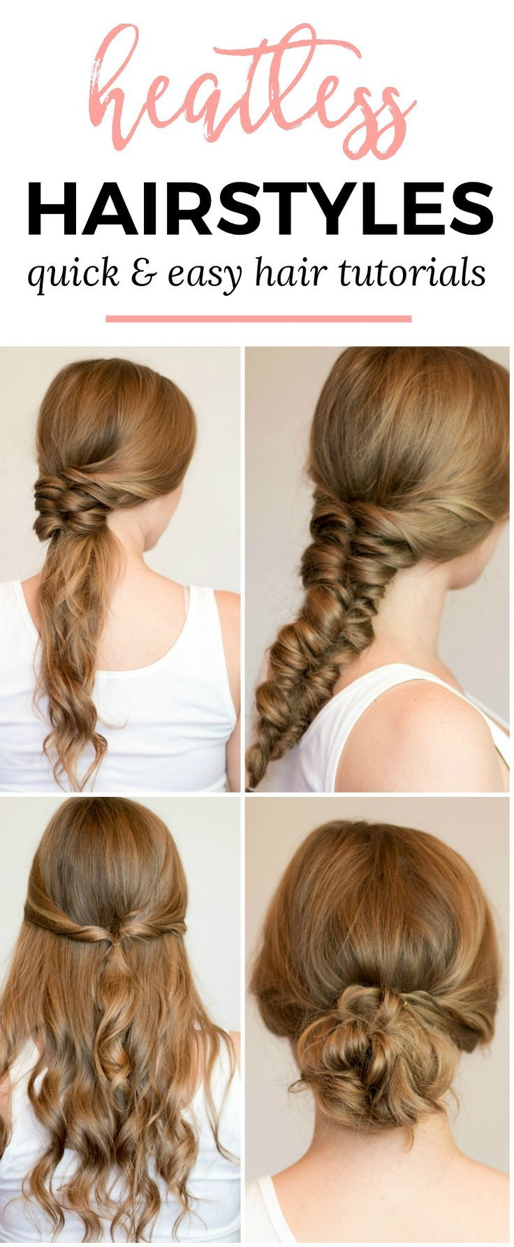 Easy heatless hair styles for long hair heatless hairstyles faux